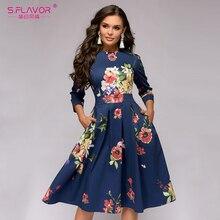 S.FLAVOR Vintage Women Floral Printed Navy A line Dress Elegant O neck 3/4 Sleeve Slim Party Vestidos 2020 Winter Casual Dress