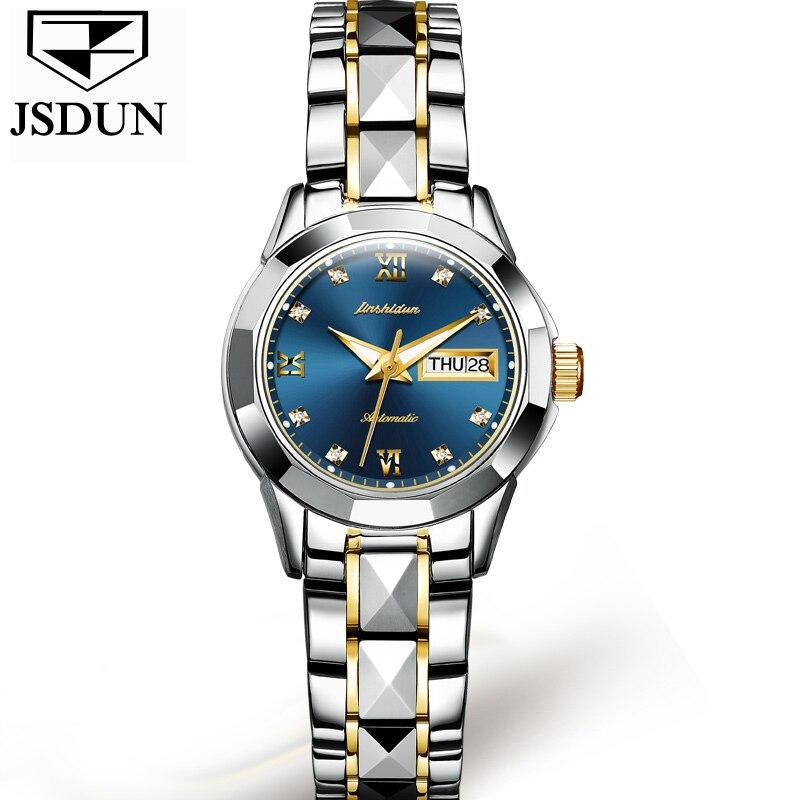 JSDUN zegarki mechaniczne kobiet wzrosła złoty zegarek automatyczny mechaniczny panie zegarki wodoodporna samonakręcający zegar ze stali nierdzewnej w Zegarki damskie od Zegarki na  Grupa 3
