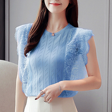 Women Tops 2019 Summer New Knitted Lace sleeveless Blouses Shirts Hollow Out Female Elegant Flower blouses 838E3