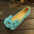 New Fashion Bow Flock Round Toe Shallow Mouth Slip-on Women Flats Plus Size 34-43 Women Ballerians Ladies Casual Ballet Flats