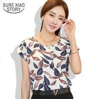 2017 women blouse shirt fashion short-sleeved women casual loose chiffon blouse ladies chiffon plus size shirt top 39i-b5 30
