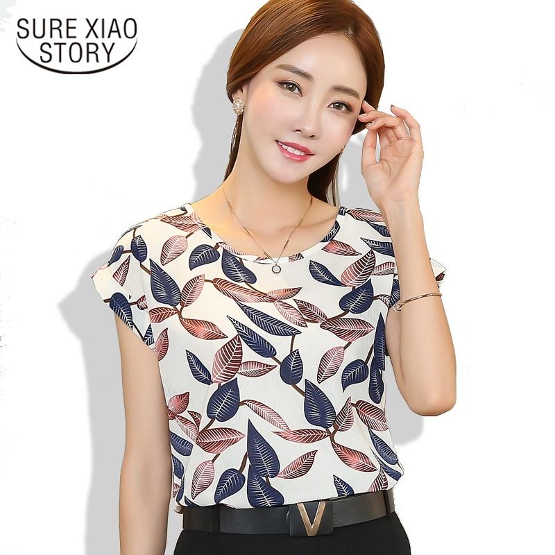 2017 женщин блузка рубашка мода с коротким рукавом Женщины случайные свободные шифоновая блузка дамы шифон плюс размер Топ 39i-b5 30