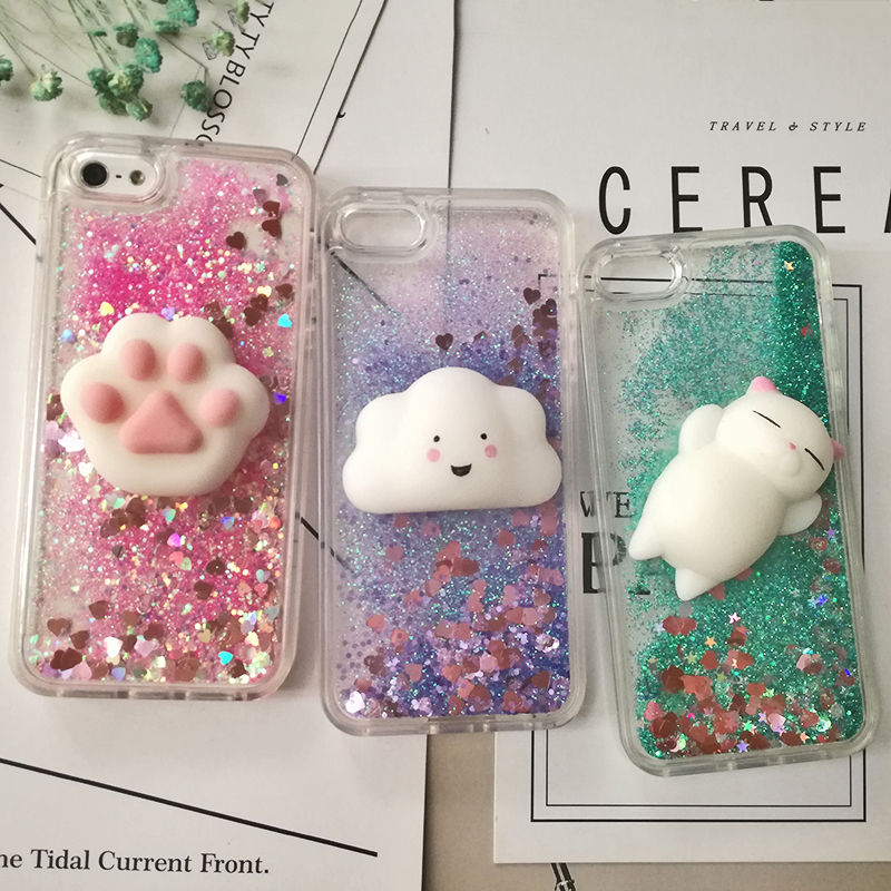 3D Cartoon Squishy Cat Quicksand Case For iPhone 5 s SE Case For iPhone 6 6s 7 8 Plus X Case Glitter Liquid Back Cover Case (15)