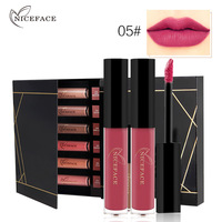 NICEFACE Liquid Lipsticks Kit 12 Colors Waterproof Elegant Nude Matte Lip Stick Smooth Red Lip Gloss