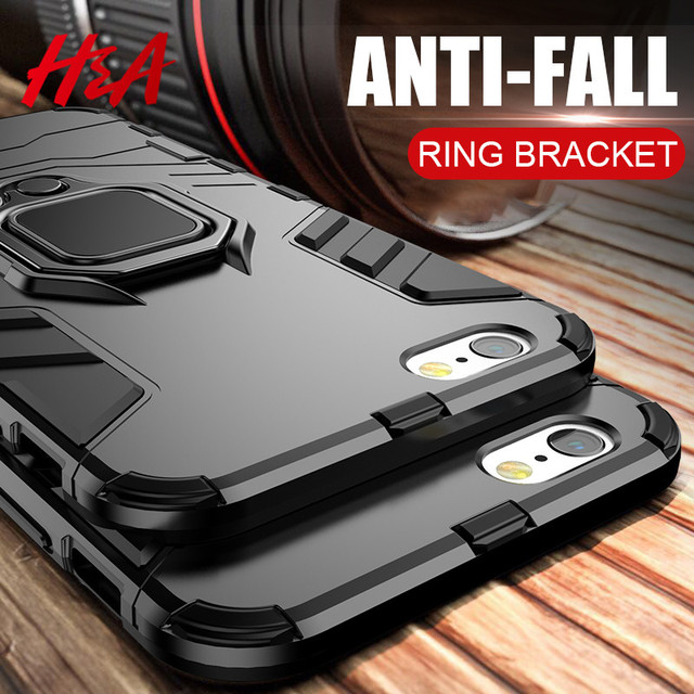H&A Luxury Armor Shockproof Phone Case For iPhone X 7 6 6s 8 Plus Soft TPU Protective Cover For iPhone 7 8 Plus Case With Holder