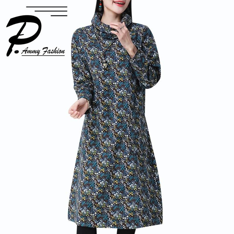 Femmes chaud pull en cachemire robe dames grande taille à manches longues lâche tunique dame voguee col roulé Floral pull