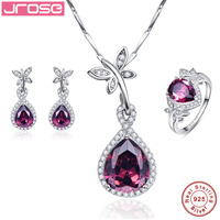 Jrose Wedding Bridal Jewelry Sets 100% 925 Sterling Silver Necklace Earrings Ring Water Drop Spessartine Garnet Fine Jewelry