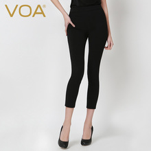 VOA Heavy Silk Twill Black Pencil Pants Female Comfort Bottoming Silk Leggings K5567