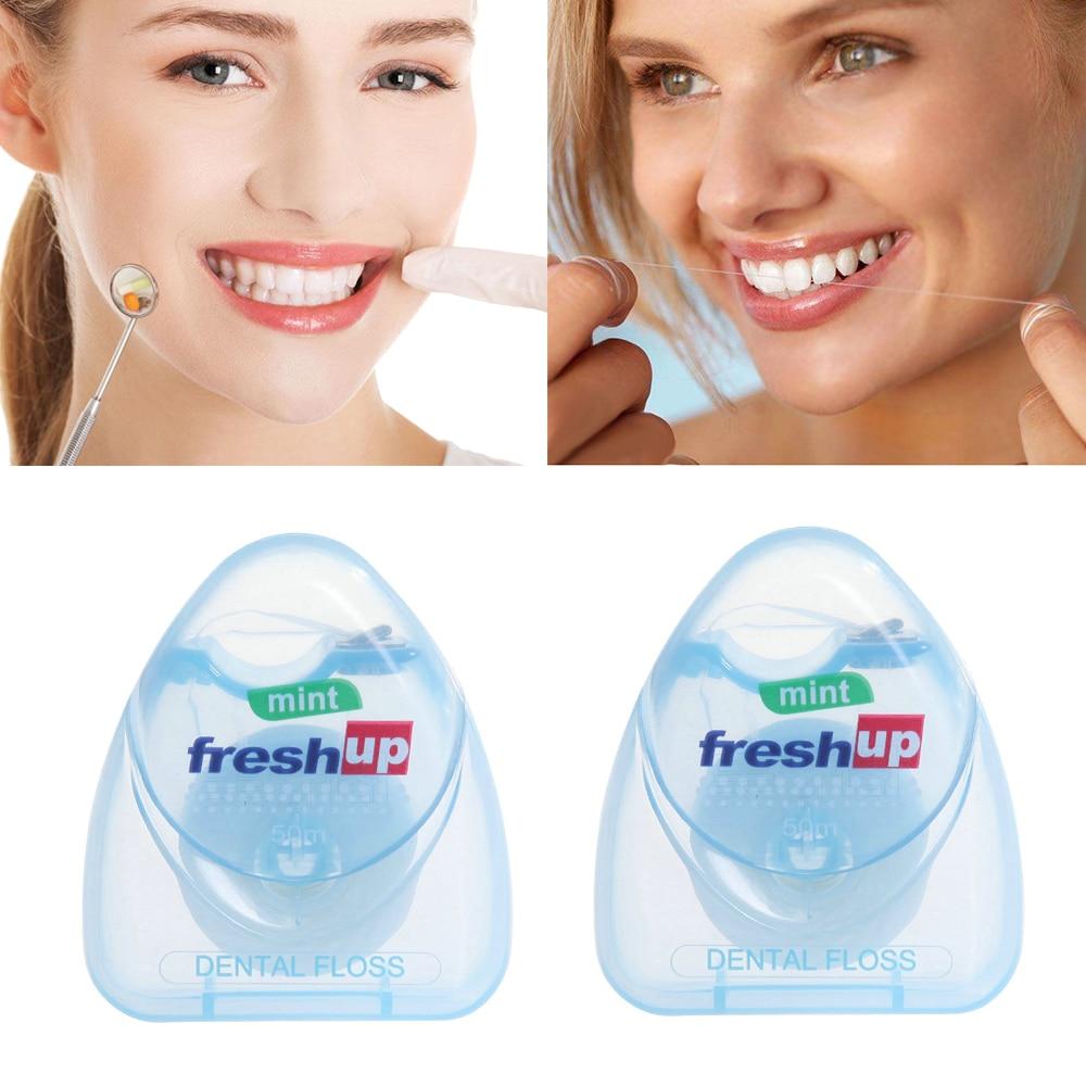 1 шт., 50 м, портативная зубная нить, уход за зубами, очиститель зубов, гигиена здоровья, межзубная щетка, инструмент для гигиены полости рта