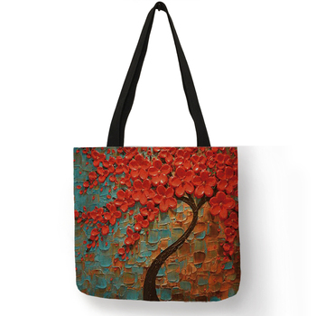 Customized Cherry Blossom Oil Paint Tote Bag For Women Lady Elegant Handbags Reusable Linen Shopping Bags Double Side Print 2