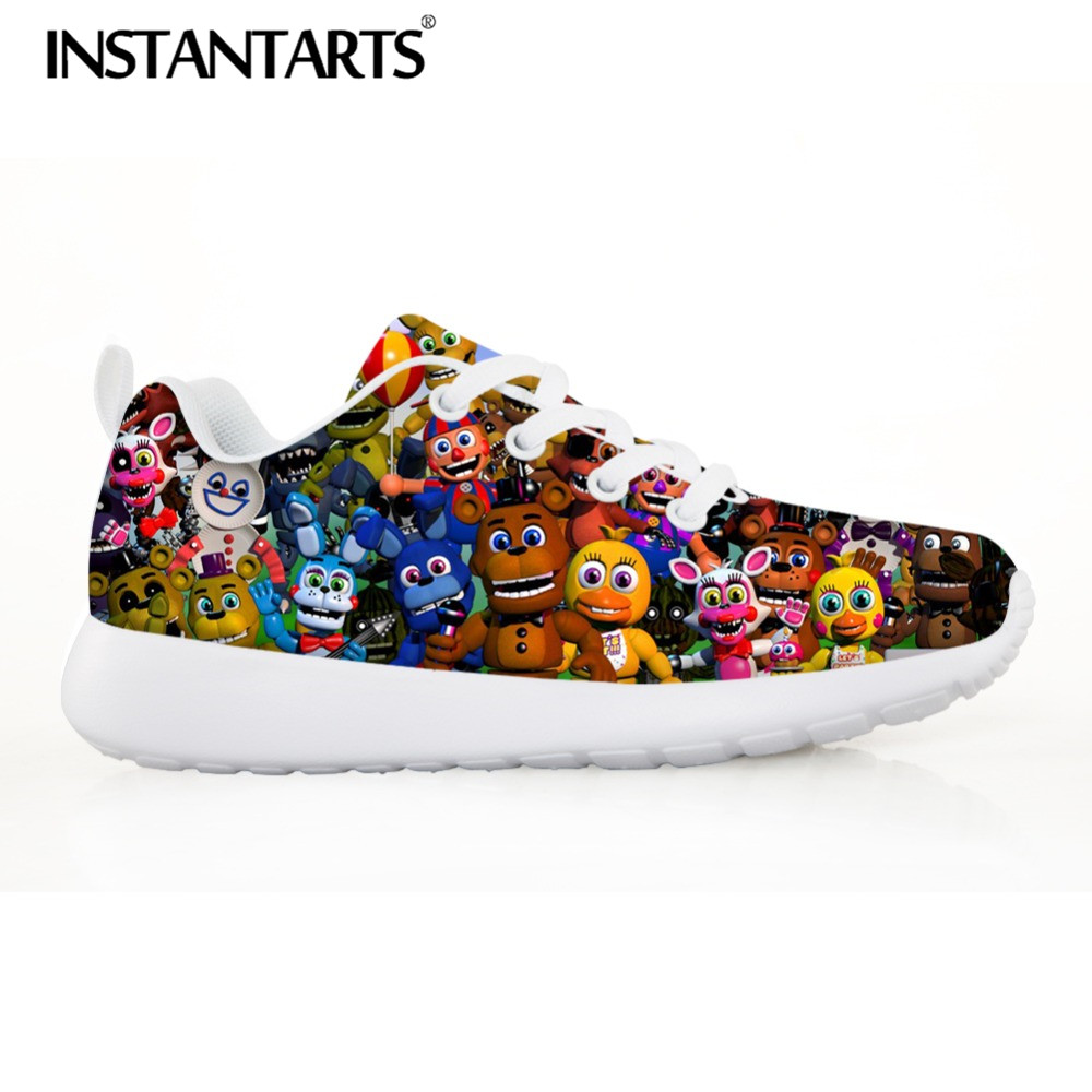 INSTARTANTS 3D Anime Five Night at Freddy Print Kids Sneakers Breathable Mesh Flats Shoes Teenager Boy Autumn Outside Footwear instartants cool 3d galaxy animal dinosaur print chilren kindergarten kids high top canvas shoe outside lace up sneakers for boy