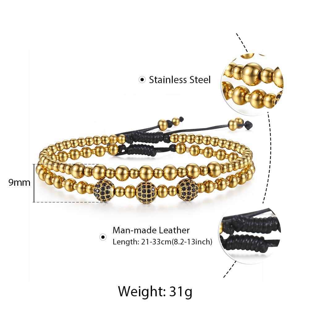 トレンディゴールドスリヴァー色ビーズブレスレットステンレス鋼ビーズのためのメンズ長さ調節可能ジュエリーギフト HDBM52