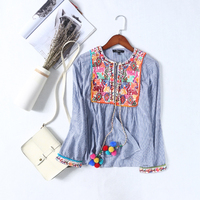 2017 Chinese Style Women Floral Embroidery Blouse Long Sleeve Autumn Vintage Ethnic Cotton Linen Spring Summer