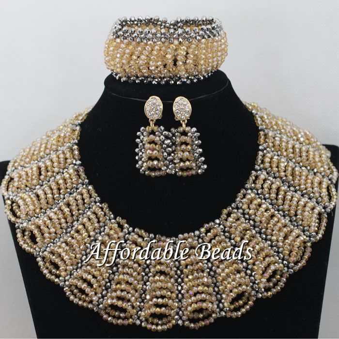 Gold Gray African Costume Jewelry Set Pretty Wedding Beads Set Handmade Item Wholesale Free Shipping NCD036 luxury african dubai jewelry sets hot wedding beads set handmade item wholesale free shipping ncd022