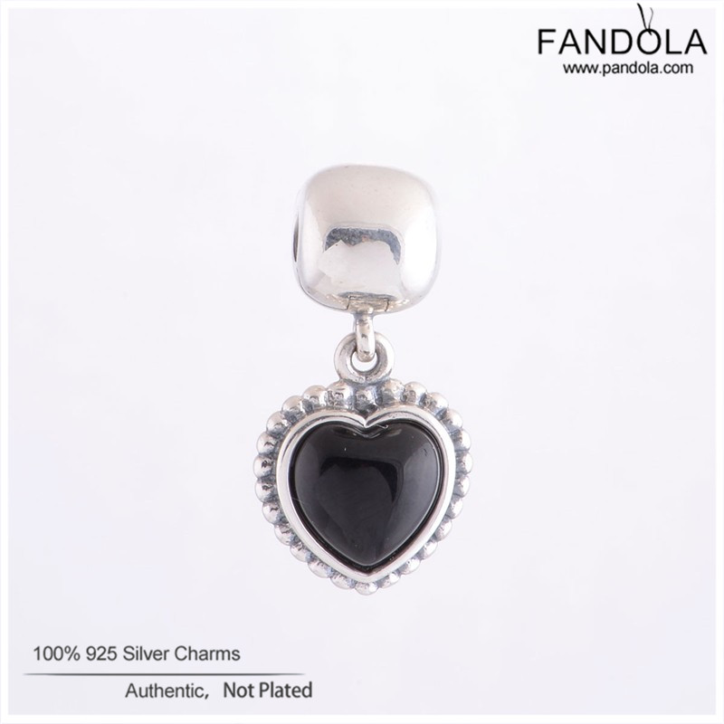 Genuine 925 Sterling Silver Black Onyx Pendant Heart Clip Charms Beads For Jewelry Making Fits Pandora Charm Bracelet Berloque strollgirl car keys 100% sterling silver charm beads fit pandora charms silver 925 original bracelet pendant diy jewelry making