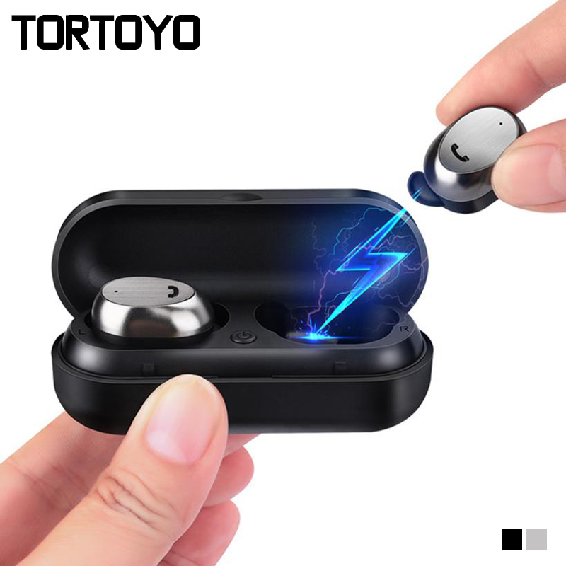 TORTOYO M9 TWS Mini Bluetooth Earphone Wireless Earbuds Metal Fast Charging Case with Mic for iPhone Xiaomi Huawei Earphones 2018 new earbuds wireless bluetooth 4 2 earpiece mini sport earphone with mic charging case tws for ios android