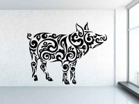 Mammal Animal Pig Pattern Wall Decal Vinyl Removable Tribal Pattern Chinese Paper Cutting Style Interior Wall