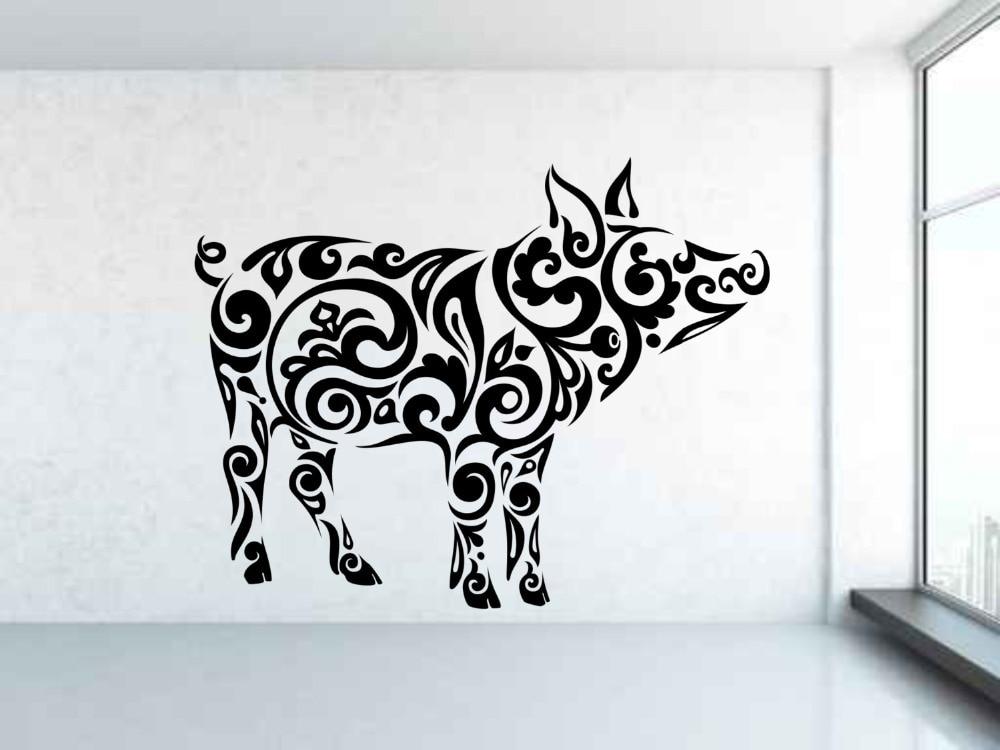 Mammifère Animal Cochon Motif Sticker Vinyle Amovible Motif Tribal ...