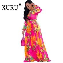 XURU Women's Beach Chiffon Print Long Dress V-neck Long Sleeve Loose Skinny