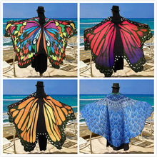 Wholesale 15 Colors Women Scarf Pashmina Butterfly Wing Cape Peacock Shawl Wrap Gifts Cute Novelty Print Scarves Pashminas butterfly wing cape pashmina