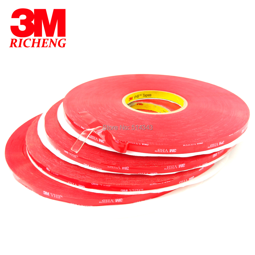 1MM Thickness VHB Silicone Tape Clear Acrylic Double Side Rubber Tape 3M 4910 12MM*33M 5ROLL/Lot1MM Thickness VHB Silicone Tape Clear Acrylic Double Side Rubber Tape 3M 4910 12MM*33M 5ROLL/Lot