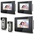 cheap price black touch keypad Video Door Phone Intercom System 7 inch Color LCD Monitor   Record with 2 IR Doorbell Camera