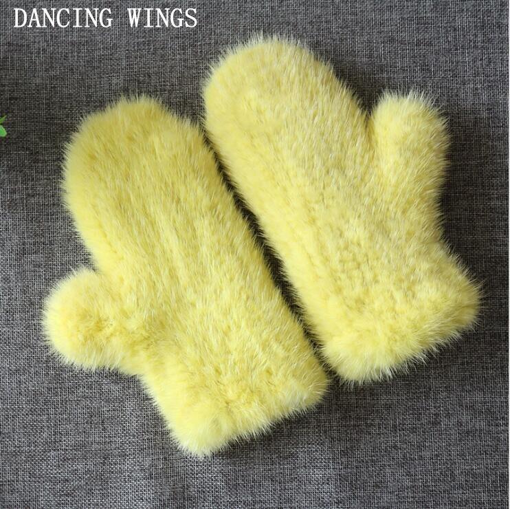 17 couleurs véritable 100% réel vison fourrure gant tricoté mitaines épais chaud hiver femmes gants livraison directe