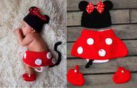 Newborn crochet baby costume photography props knitting cartoon mickey baby girls hat 3pcs/set baby photo props 0-1M OR 3-4M