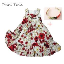 100% Cotton Girls Vest Dresses Princess Costumes Brand Kids Dress Headband Girls Clothes Floral Print Children Dress Summer