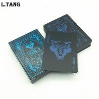 Черный Водонепроницаемый Пластик ПВХ игральные карты комплекты волк классический фокусы покер креативный подарок S502