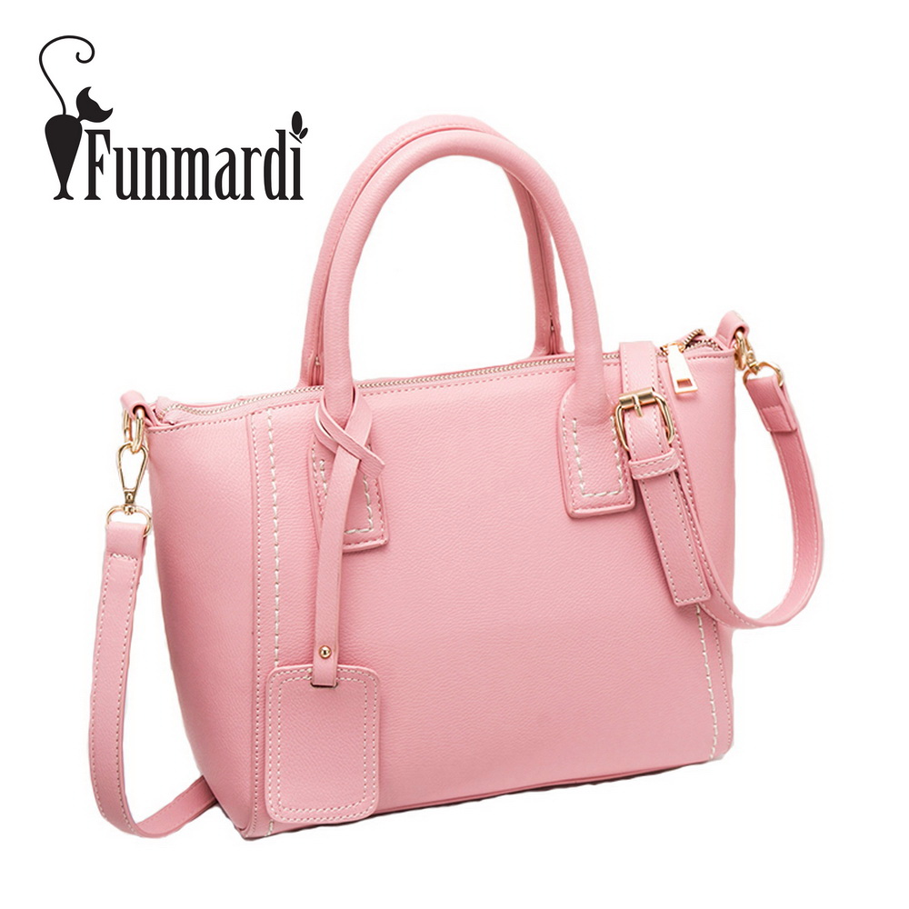 FUNMARDI Candy Colors Trapeze Women Leather Bags New Fashion Messenger Bag Brand Design Shoulder Bag Summer Totes Bag WLHB1646