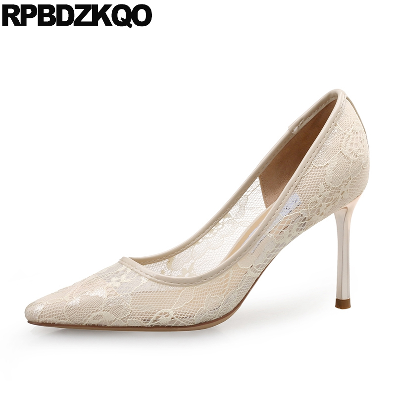 Pointed Toe Genuine Leather Big Size Women Stiletto Bridal Lace Brand Ivory Wedding Shoes 3 Inch Heels Pumps 33 Beige High Mesh