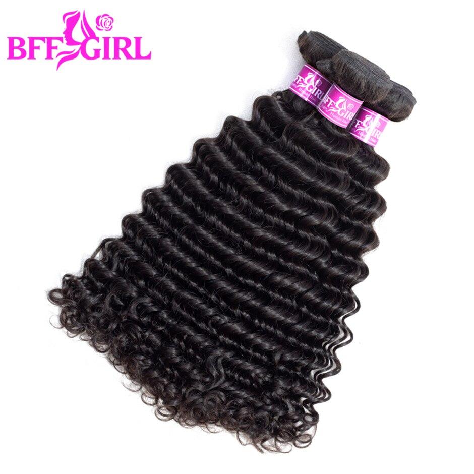 BFF GIRL Malaysian Deep Wave Hair Bundles 100% Human Hair Weave 3 Bundles Deal 100g/pc Natural Color Non Remy Hair Extensions