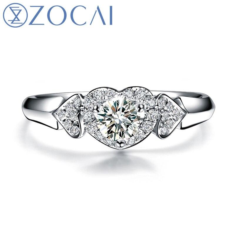 ZOCAI bague TETE-A-TETE coeur 0.28 CT certifié F-G/SI diamant bagues de fiançailles ensemble diamant rond taille 18 K or blanc W03017