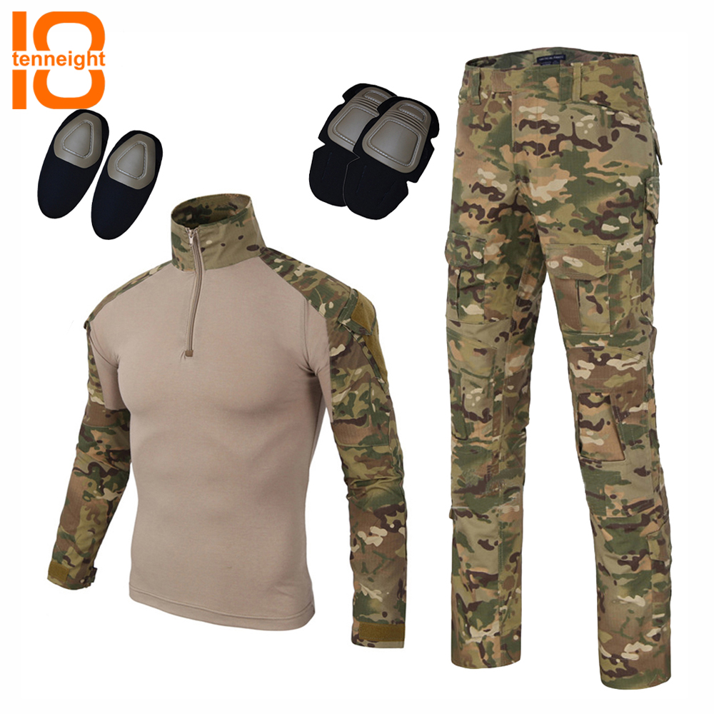 TENNEIGHT Tactical Camouflage Uniform Pants Shirt with Knee Pads Military Army Combat Suit BDU Hunting Long Sleeve CP