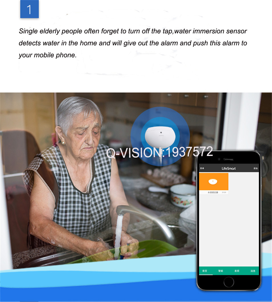 LifeSmart Water Immersion Sensor Home Prevent Water Leakage Overflow Two-way Alarm Realtime Monitor Smart Home Sensor by Phone-2