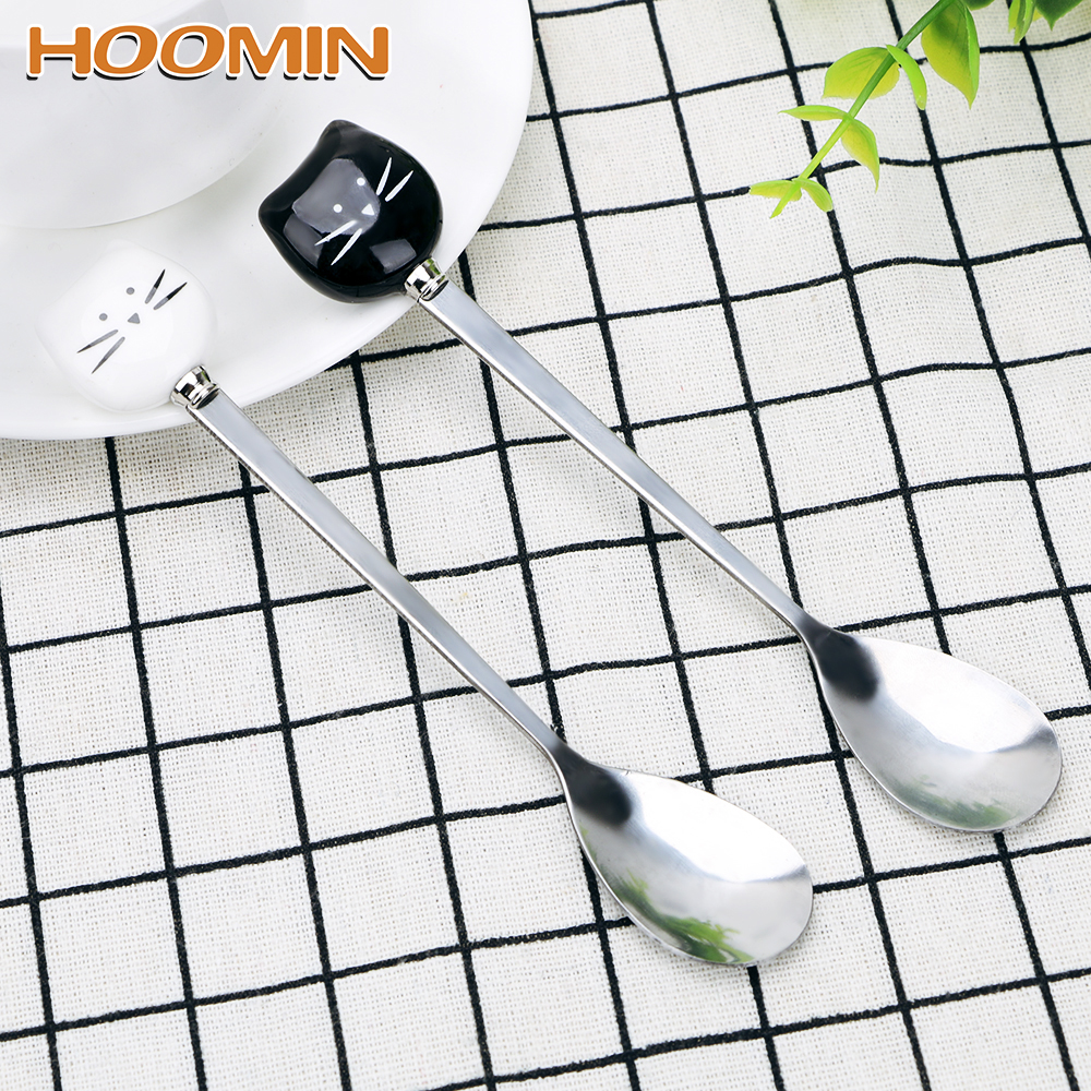 HOOMIN Flatware Kitchen Tool Ice Cream Cartoon Spoon Stainless Steel Coffee Spoon Cat Ceramic Spoon