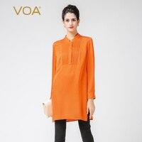 VOA большой Размеры Жаккардовая Ткань шелковая блузка насыщенный оранжевый с длинным рукавом Офис Базовая рубашка Повседневное Для женщин т