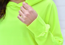 Mesh Long Sleeve Hooded T Shirt Fitness Yoga Crop Top Women Sportswear