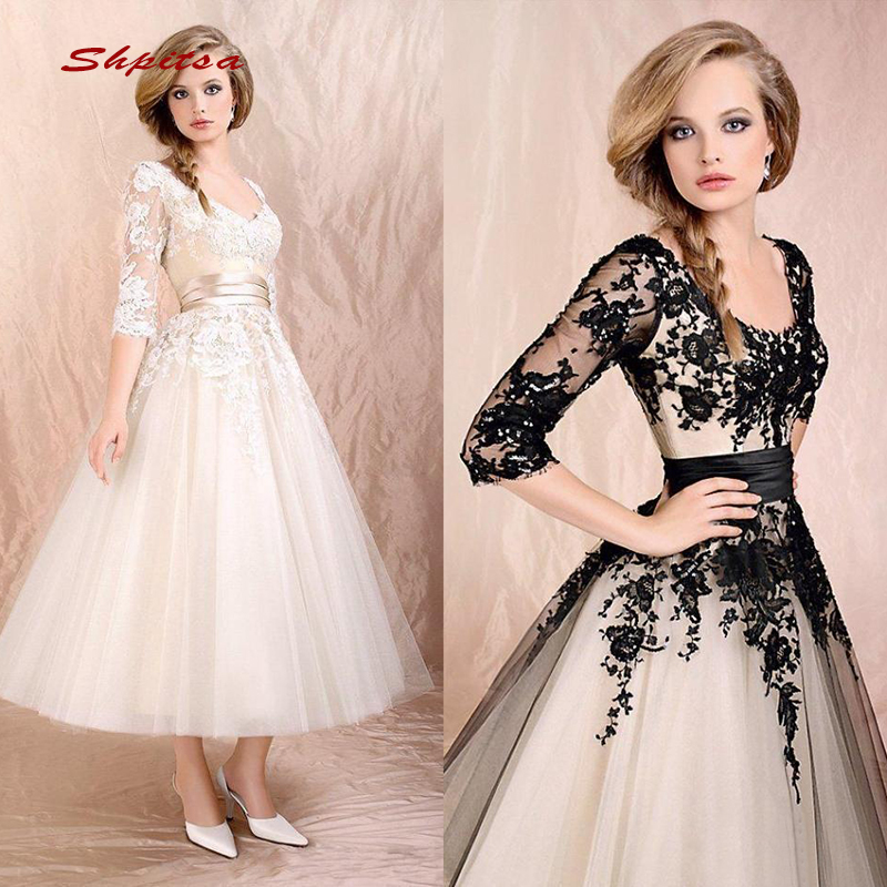 Tea Length Lace Cocktail Dresses Party with Sleeves Graduation Women Prom Plus Size Coctail Mini Semi Formal Dresses
