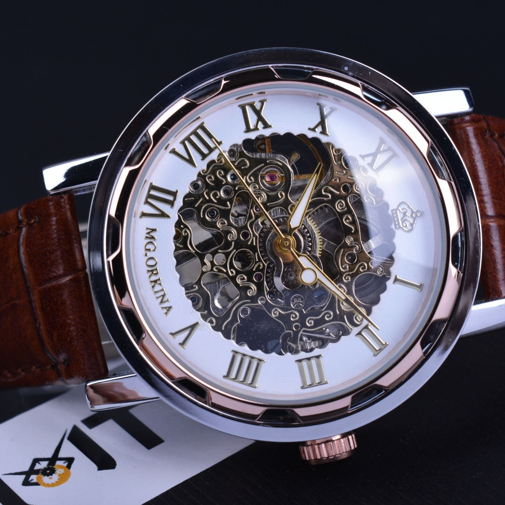 orkina classic retro design brown leather strap mechanical skeleton watch mens watches top brand. Black Bedroom Furniture Sets. Home Design Ideas