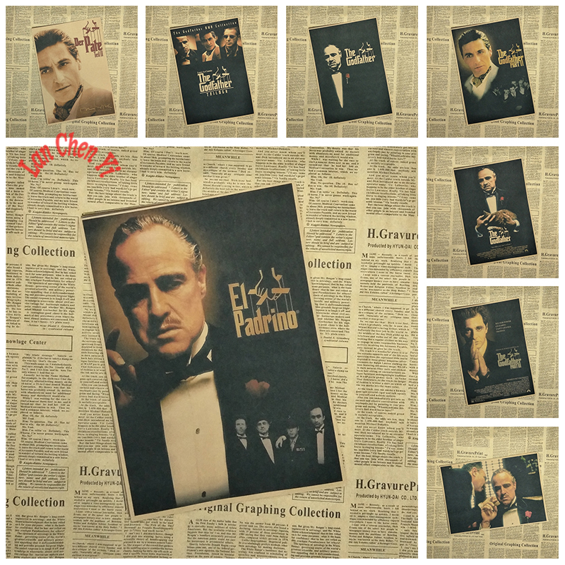 Multiple awards Classic Movie The Godfather Kraft Paper Poster Office Gift Room Dining Home Decor wall sticker Design