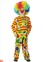 Free Shipping 2014 Hot Sale Cosplay Children Funny Clown Costumes For Halloween Clown Clothes Clothes Wig