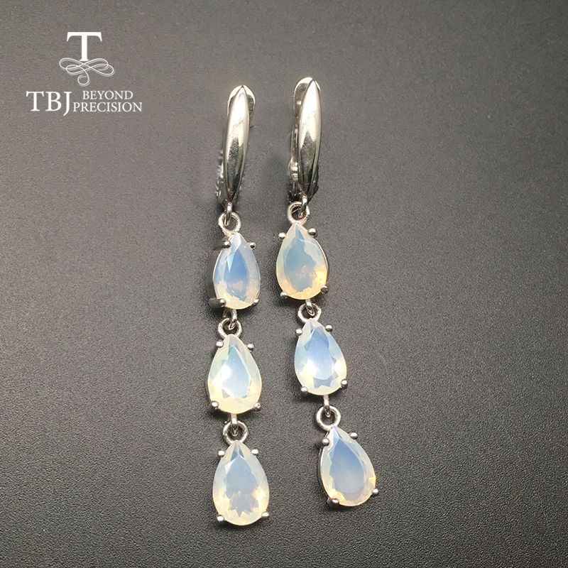 TBJ Long clasp earring natural Ethiopian Opal 925 sterling silver gemstone fine jewelry for women nice