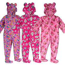 2016 New Fashion Girls Kid Onesie Pyjamas Footed Hooded Fleece Jumpsuit 3-12Y Nightwear Sleepwear Nightgown Animal Warm Winter