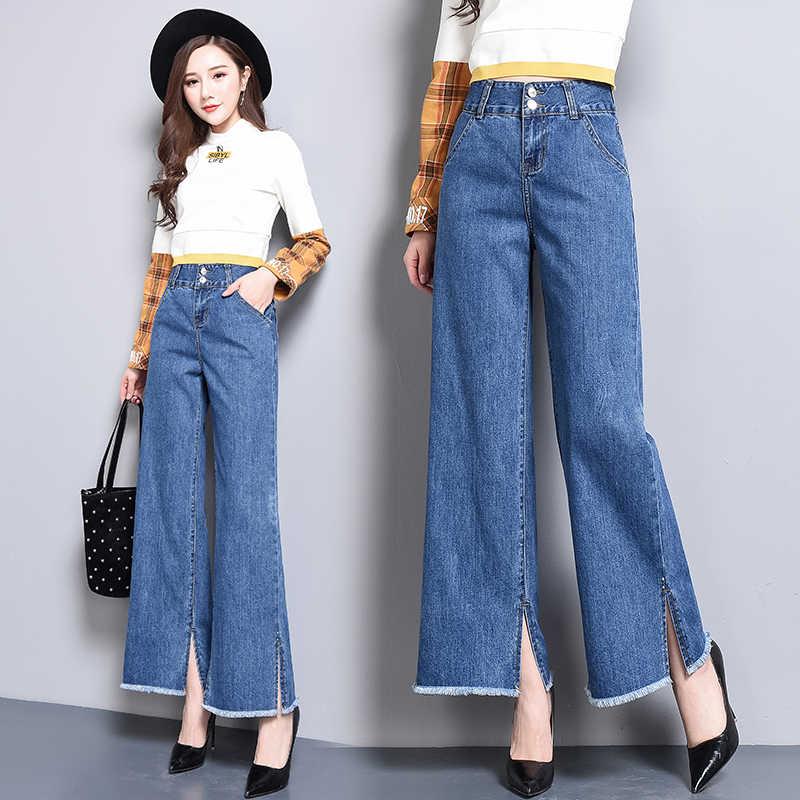 Female Casual Denim Blue Wide Leg Pant Work Pantalon Palazzo Mujer Women High Waist Jeans Straight Pants Plus Size Long Trouser Jeans Aliexpress