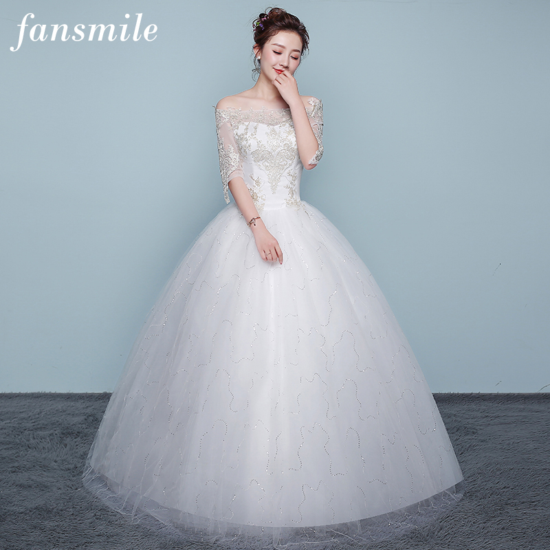 Fansmile Applique Vintage Lace Gowns Wedding Dress Plus Size 2019 Customized Bridal Wedding Dress Turkey Shipping Free FSM-436F
