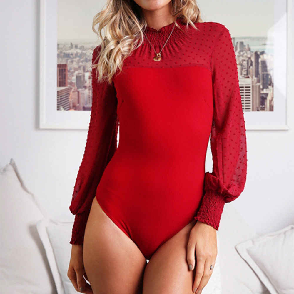 2019 ชุดบอดี้สูทเซ็กซี่เซ็กซี่แขนยาว Hollow Out Joint Romper ผู้หญิง Jumpsuit ฤดูใบไม้ร่วงฤดูใบไม้ร่วง O-คอ femme Playsuit