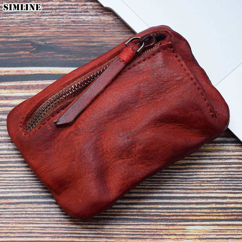 Genuine Leather Coin Purse Women Vintage Handmade Small Mini Wallet Card Holder Money Bag Case Zipper Change Purses Female Male