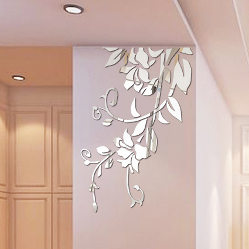 6pcs DIY 3D Acrylic Modern Mirror Decal Leaf Feather Wall Sticker Home Decor